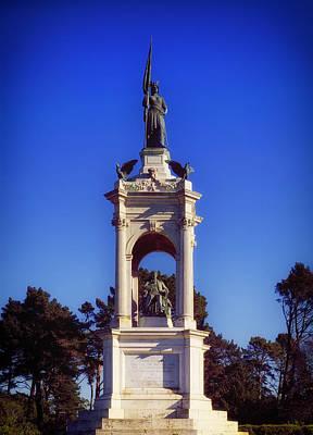Sky Writer Photograph - Francis Scott Key Monument - San Francisco by Mountain Dreams