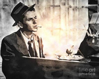 Frank Sinatra - Vintage Painting Print by Ian Gledhill