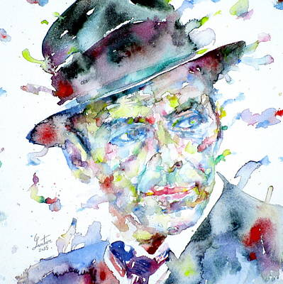 Frank Sinatra - Watercolor Portrait.2 Print by Fabrizio Cassetta