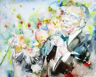 Frank Sinatra - Watercolor Portrait.3 Print by Fabrizio Cassetta