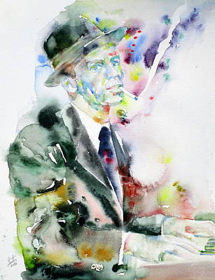 Frank Sinatra - Watercolor Portrait.4 Print by Fabrizio Cassetta