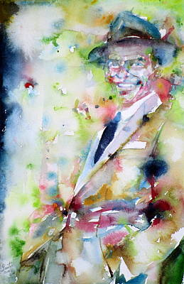 Frank Sinatra - Watercolor Portrait.6 Print by Fabrizio Cassetta
