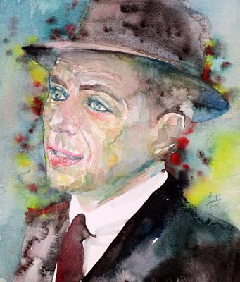 Frank Sinatra - Watercolor Portrait.7 Original by Fabrizio Cassetta