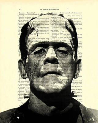 Creepy Digital Art - Frankenstein On Dictionary Page by Madame Memento