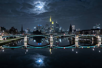 Water Reflections Photograph - Frankfurt At Full Moon by Mike