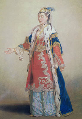 Frankish Woman From Pera  Constantinople Print by Jean-Etienne Liotard