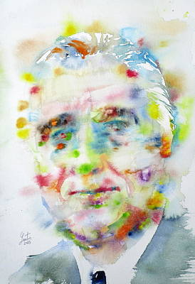 Franklin Roosevelt Painting - Franklin D. Roosevelt - Watercolor Portrait by Fabrizio Cassetta