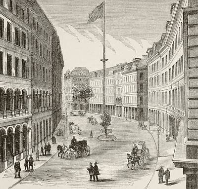 Franklin Drawing - Franklin Street, Boston, Massachusetts by Vintage Design Pics