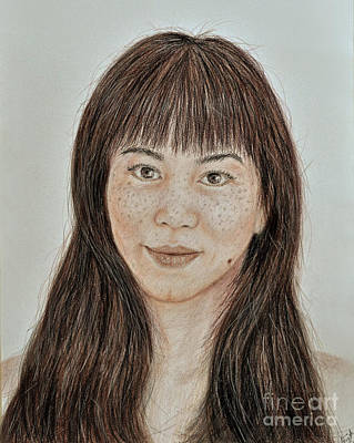 Beauty Mark Drawing - Freckle Faced Asian Beauty With Bangs  by Jim Fitzpatrick