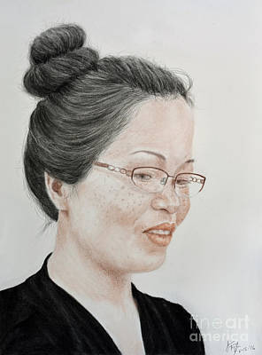Eyes Drawing - Freckle Faced Beauty With Glasses And Her Hair Up by Jim Fitzpatrick