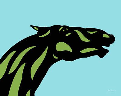 Mammals Digital Art - Fred - Pop Art Horse - Black, Greenery, Island Paradise Blue by Manuel Sueess