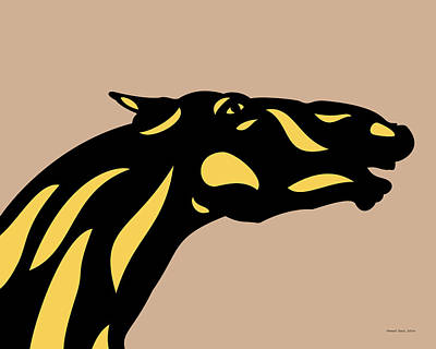 Mammals Digital Art - Fred - Pop Art Horse - Black, Primrose Yellow, Hazelnut by Manuel Sueess