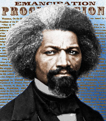 Frederick Douglass And Emancipation Proclamation Painting In Color  Print by Tony Rubino