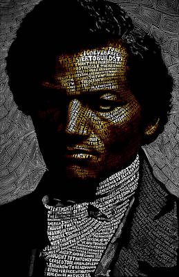 Black History Mixed Media - Frederick Douglass Word Mosaic by Hans Fleurimont