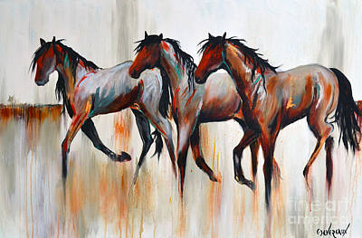 Wild Horse Painting - Free Spirits by Cher Devereaux