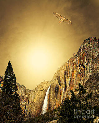 Yosemite National Park Mixed Media - Free To Soar The Boundless Sky . Portrait Cut by Wingsdomain Art and Photography