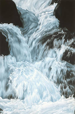 Pastel - Freefall - Nine Horses Descend The Falls by Kim McElroy