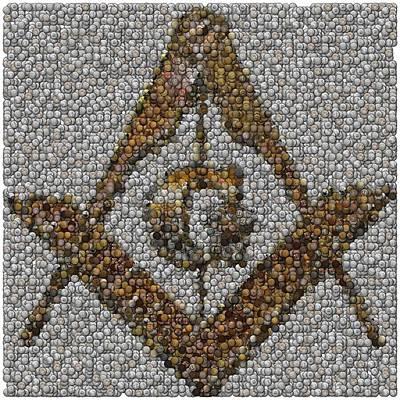 Mosaic Mixed Media - Freemason Coin Mosaic by Paul Van Scott