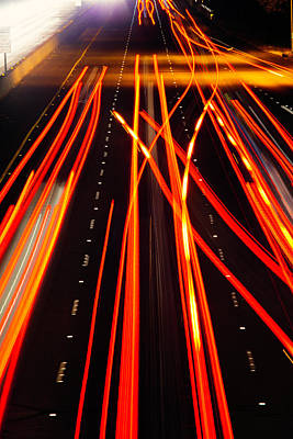Freeway Tail Lights Print by Garry Gay