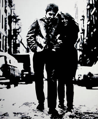 Bob Dylan Painting - Freewheelin by Luis Ludzska