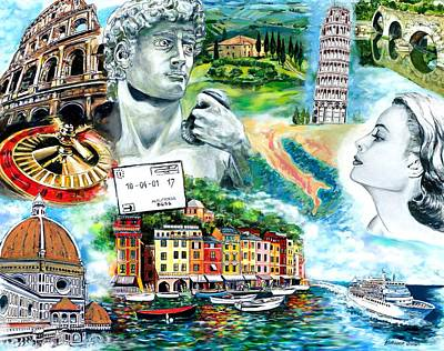 Grace Kelly Painting - French And Italian Riviera by Kathleen Owen