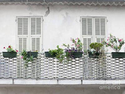 French Balcony With Shutters Print by Elena Elisseeva