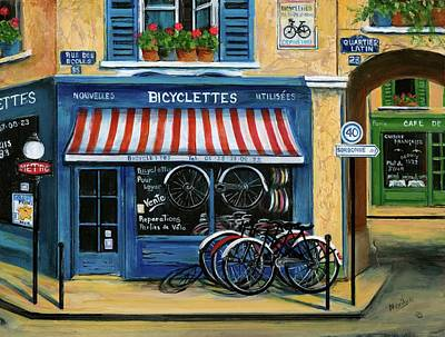 Signed Painting - French Bicycle Shop by Marilyn Dunlap