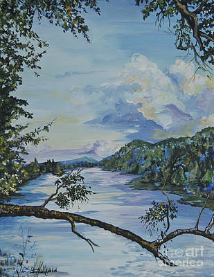 Smokey Mountains Painting - French Broad At Biltmore Estates Nc by Johnnie Stanfield