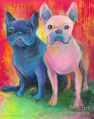 Giclee Mixed Media - French Bulldog Dogs White And Black Painting by Svetlana Novikova