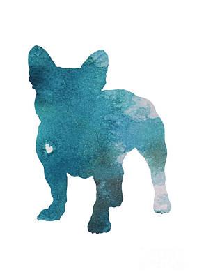 French Bulldog Silhouette Blue Kids Play Room Decor, Turquoise Frenchie Print Nursery Boy Room Art Print by Joanna Szmerdt