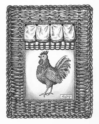 Paper Images Drawing - French Country Rooster by Adam Zebediah Joseph