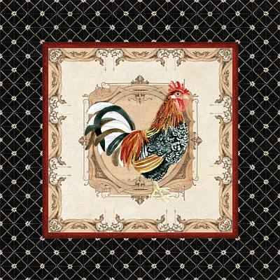 French Country Roosters Quartet Black 1 Print by Audrey Jeanne Roberts