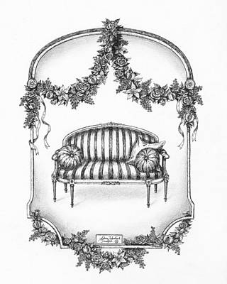 Paper Images Drawing - French Country Sofa by Adam Zebediah Joseph