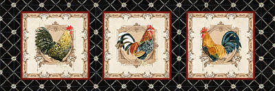 Etching Mixed Media - French Country Vintage Style Roosters - Triplet by Audrey Jeanne Roberts