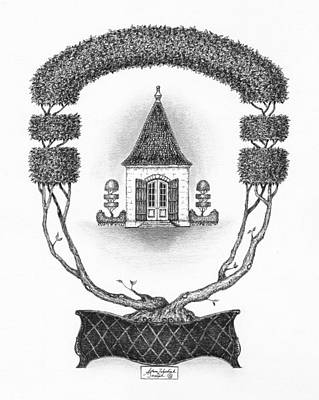 Ink Drawing Drawing - French Garden House by Adam Zebediah Joseph