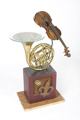 French Horn And Violin Table Print by Benjamin Bullins