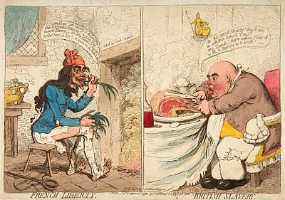 James Gillray Drawing - French Liberty - British Slavery by James Gillray
