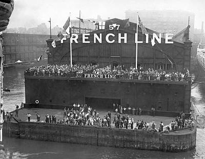 Cheers Photograph - French Line Pier In New York by Underwood Archives