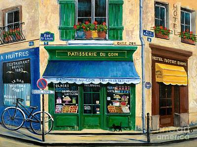Bicycle Art Painting - French Pastry Shop by Marilyn Dunlap