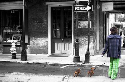 French Quarter Dog Walking Fusion Print by John Rizzuto