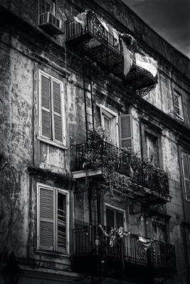 French Quarter Shutters And Balconies In Black And White Print by Chrystal Mimbs