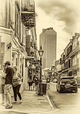 Daily Life Digital Art - French Quarter Sidewalk 2 - Sepia by Steve Harrington