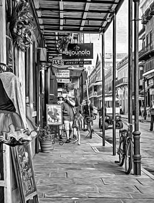 Daily Life Digital Art - French Quarter Sidewalk Bw by Steve Harrington