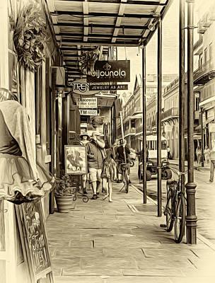 Daily Life Digital Art - French Quarter Sidewalk - Sepia by Steve Harrington