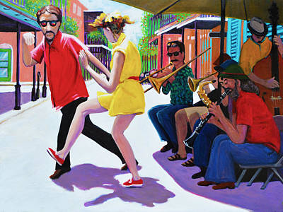 New Orleans Oil Painting - French Quarter Street Swing by Charles Wallis