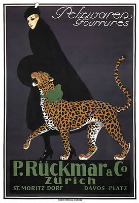 Cheetah Digital Art - French Swiss Vintage Ad C. 1920 by Daniel Hagerman