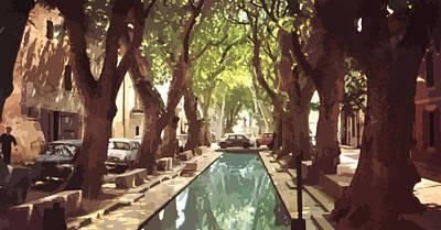 French Village With Pool  Print by Elizabetha Fox
