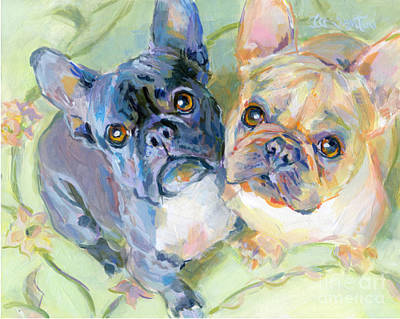 Commissions Painting - Frenchies by Kimberly Santini