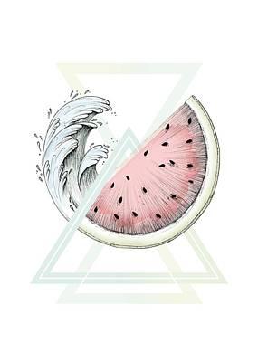 Watermelon Drawing - Fresh by Barlena