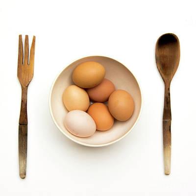 Fresh Eggs In Bowl Print by Bernard Jaubert